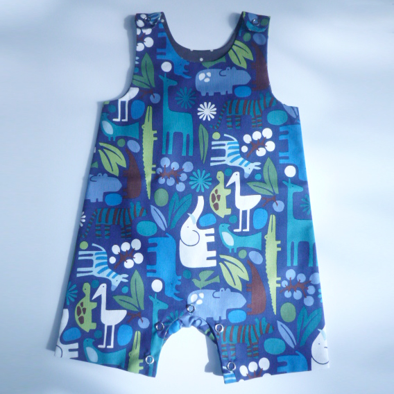 Playsuit in Blue jungle print